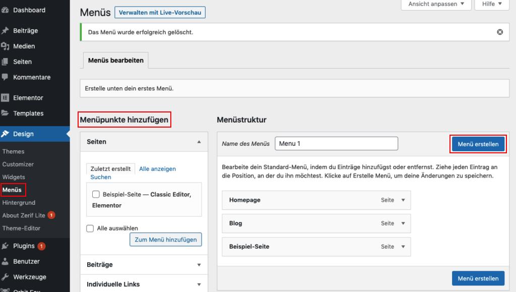 Menü erstellen in WordPress