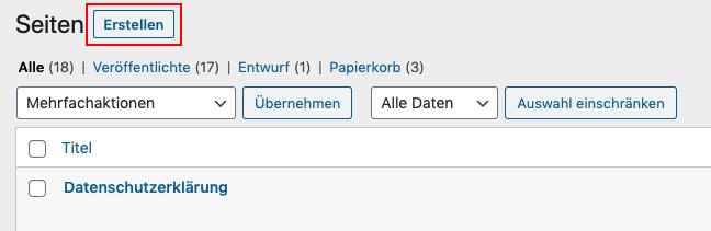 Seite in WordPress erstellen