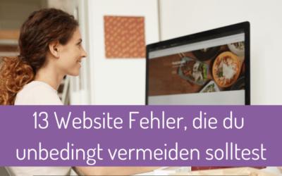 13 Fehler, die du unbedingt auf deiner Website vermeiden solltest