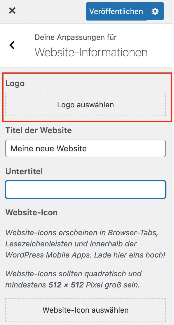 Logo auswählen im Customizer