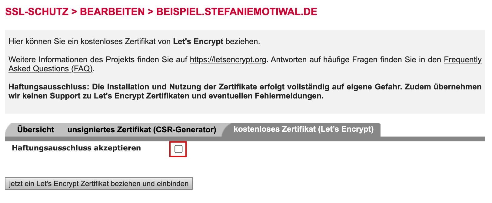 Lets Encrypt Zertifikat beziehen